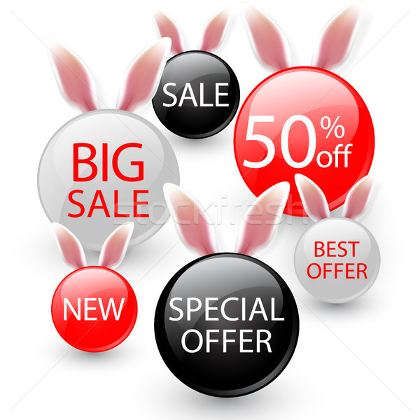 Happy Easter sale banners with realistic Easter rabbir`s ears, isolated on a gray background Stock photo © olehsvetiukha