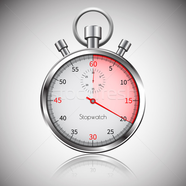 20 seconds. Silver realistic stopwatch with reflection. Vector Stock photo © olehsvetiukha