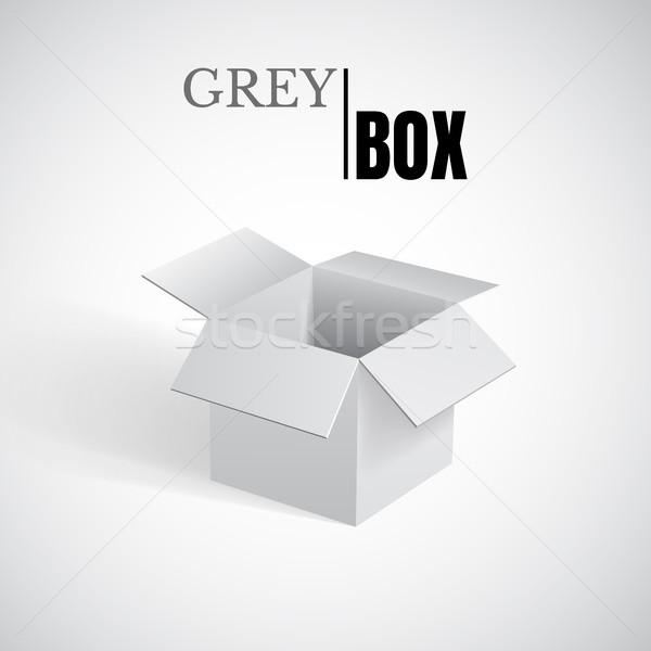 Open box, grey cardboard, vector container Stock photo © olehsvetiukha
