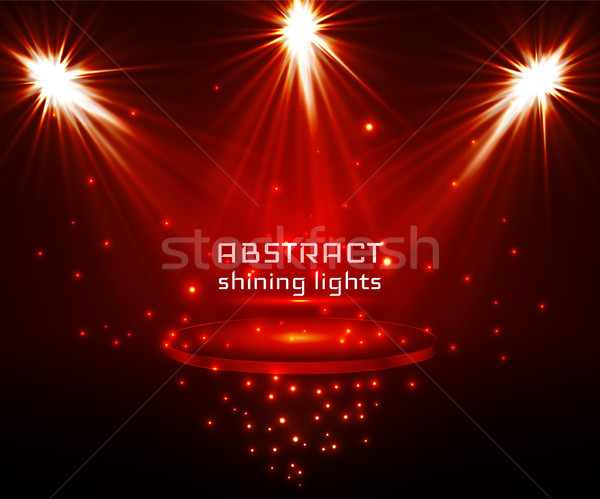 stage spot lighting. magic light. red vector background Stock photo © olehsvetiukha
