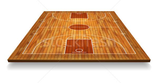 перспективы баскетбольная площадка полу линия текстура древесины природы Сток-фото © olehsvetiukha