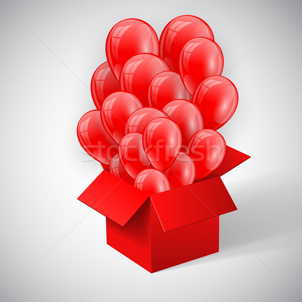 Poster with Red Shiny Balloons Bunch flying from open red box