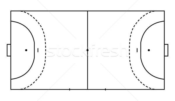 handball field, cort eps10 field top view vector illustration, Line art style Stock photo © olehsvetiukha