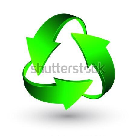 Verde reciclar flechas vector negocios naturaleza Foto stock © olehsvetiukha