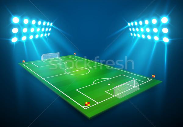 Illusztráció futball futballpálya fényes stadion fények Stock fotó © olehsvetiukha