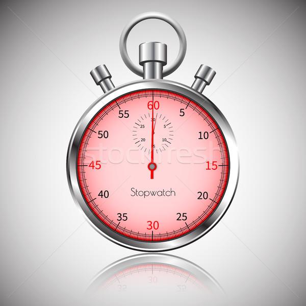 60 seconden zilver realistisch stopwatch reflectie Stockfoto © olehsvetiukha