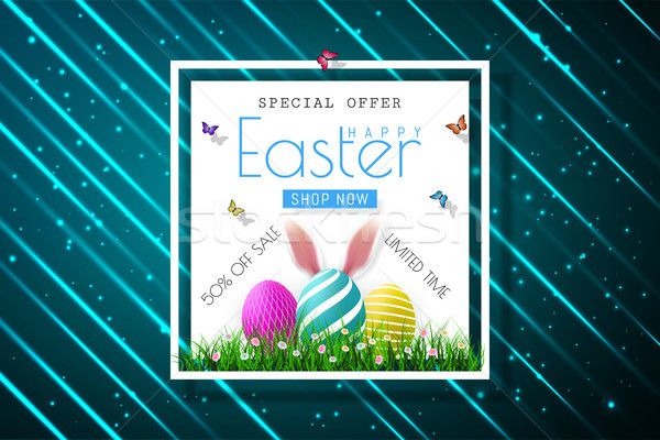 Happy Easter sale banners with realistic Easter rabbir`s ears, vector Stock photo © olehsvetiukha