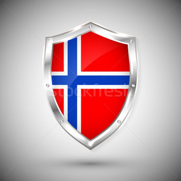 Norwegia banderą metal błyszczący tarcza kolekcja Zdjęcia stock © olehsvetiukha