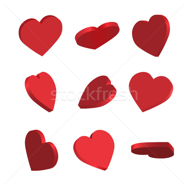 Stock photo: Set of simple icons of red hearts