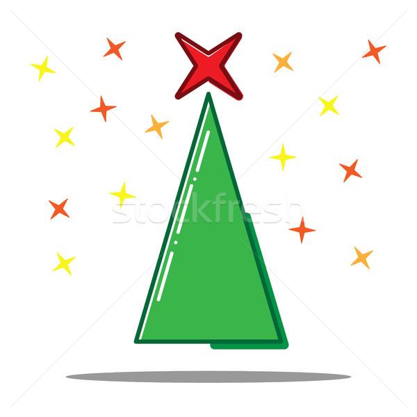 Christmas tree Flat line icon concept. Vector Stock photo © olehsvetiukha