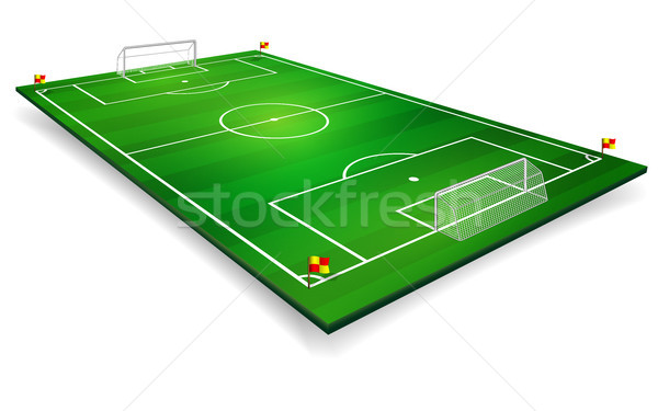 Perspective vector illustration of football field, soccer field. Vector EPS 10. Room for copy Stock photo © olehsvetiukha