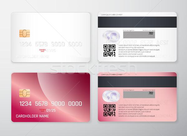 Creditcard realistisch gedetailleerd creditcards ingesteld Stockfoto © olehsvetiukha