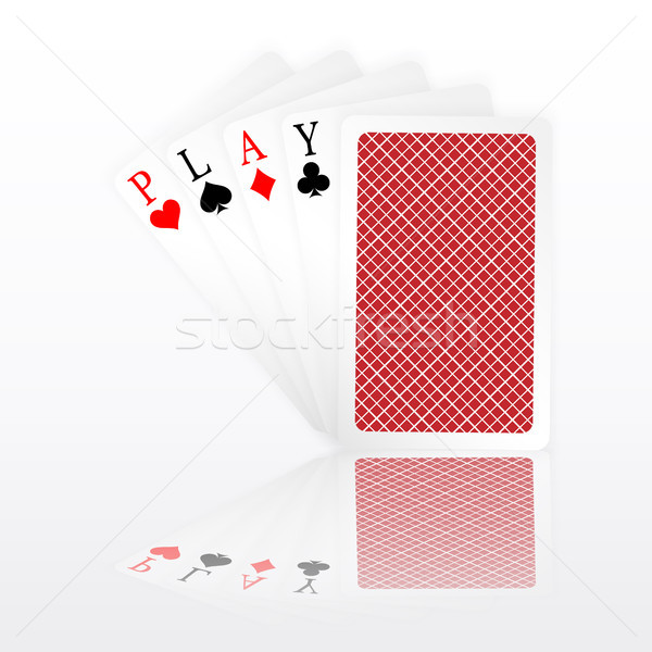Stock photo: Play word aces poker hand fly and one closed playing cards suits. Winning poker hand