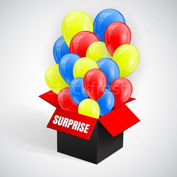 Foto stock: Surpresa · cartaz · balões · monte · voador · abrir
