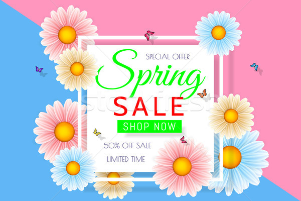 Spring sale background design with beautiful colorful flower. Vector floral design template for coup Stock photo © olehsvetiukha