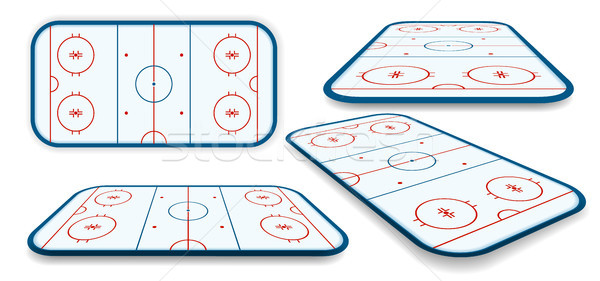 detailed illustration set of a icehockey rink, field, court with different perspectives, eps10 vecto Stock photo © olehsvetiukha
