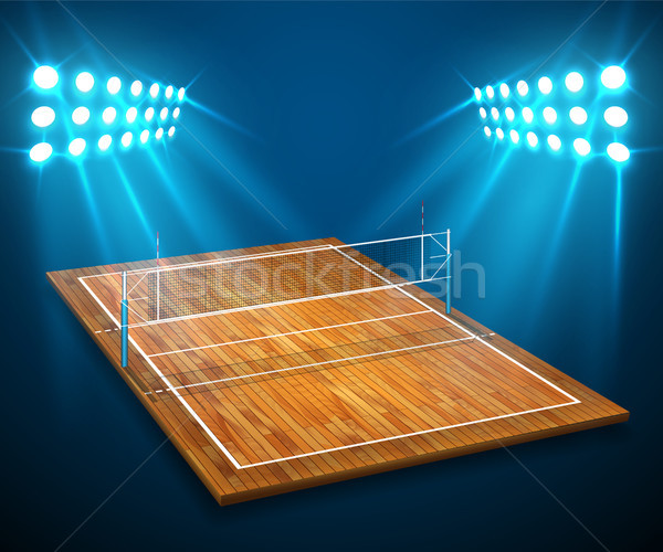 An illustration of hardwood perspective vollyball field court, net with bright stadium lights shinin Stock photo © olehsvetiukha