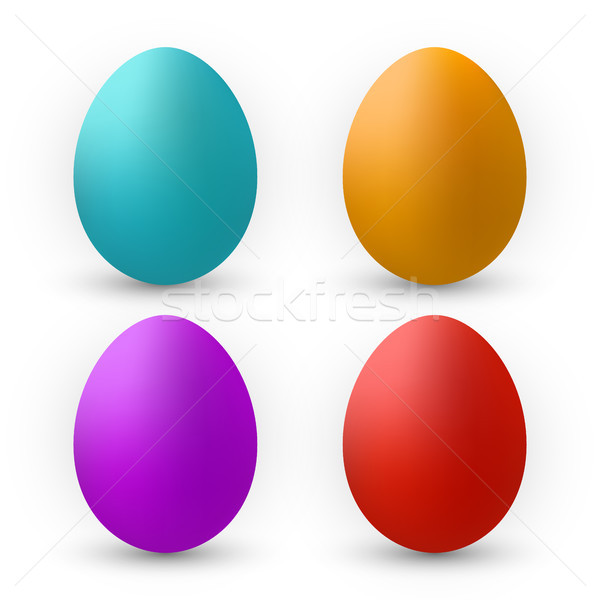 Stock photo: Color Eggs Collection With Gradient Mesh, design template, Vector Illustration