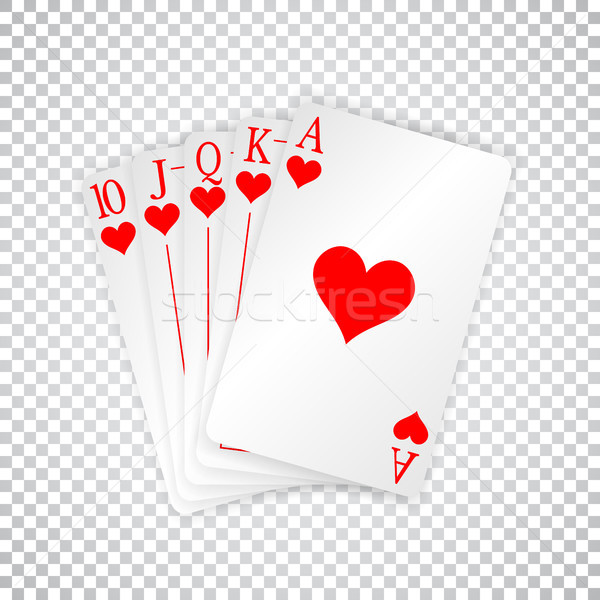 A royal straight flush playing cards poker hand in hearts Stock photo © olehsvetiukha
