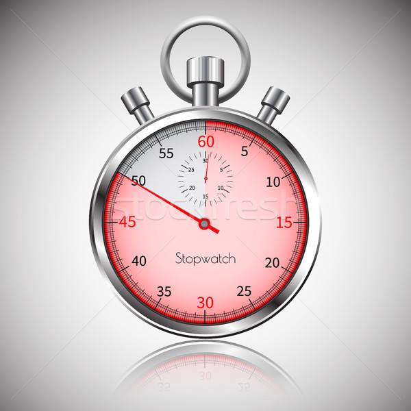 50 seconds. Silver realistic stopwatch with reflection. Vector Stock photo © olehsvetiukha