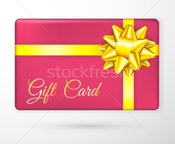Vector gift vouchers with bow gold yellow ribbons, and red backgrounds. Creative holiday cards or ba Stock photo © olehsvetiukha