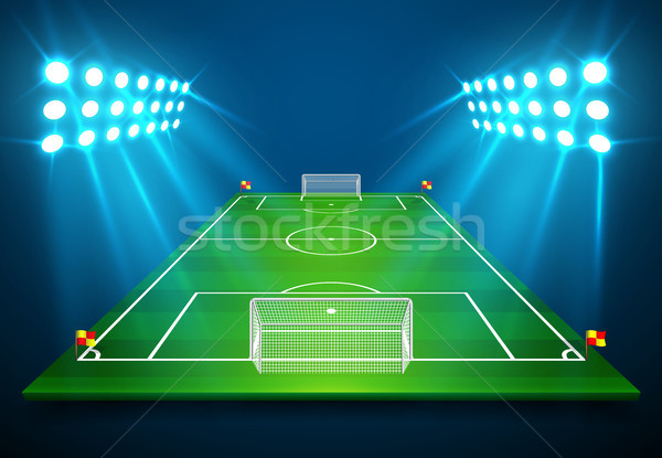 An illustration of Football soccer field with bright stadium lights shining on it. Vector EPS 10. Ro Stock photo © olehsvetiukha
