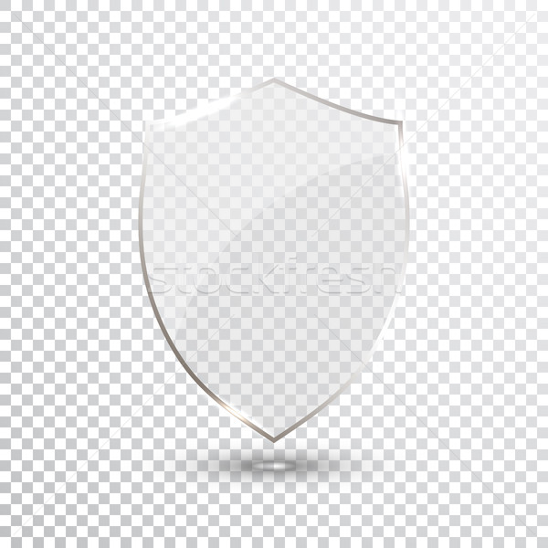 Transparant schild veiligheid glas badge icon Stockfoto © olehsvetiukha