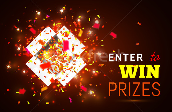 Open Gift Box and Confetti on red background. Enter to Win Prizes. Vector Illustration Stock photo © olehsvetiukha