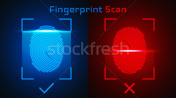 Electronic fingerprint scan. Passed and not passed authorization Stock photo © olehsvetiukha
