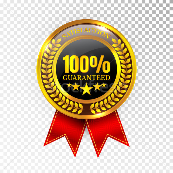 100 percent Satisfaction Guaranteed Golden Medal Label Icon Seal Sign Isolated on White Background.  Stock photo © olehsvetiukha