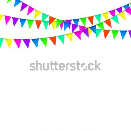 Stock photo: Party Background with Flags Vector, Colored festoons on the white background