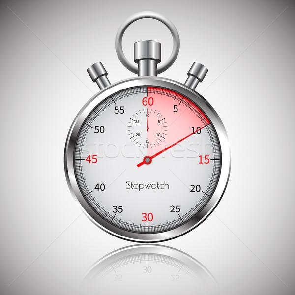 10 seconden zilver realistisch stopwatch reflectie Stockfoto © olehsvetiukha