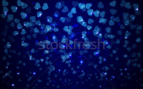 abstract valentine holiday blue background with hearts blurry lights Stock photo © olehsvetiukha
