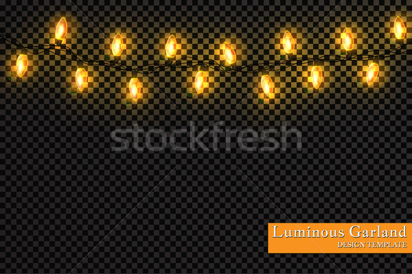 Color garland, festive decorations. Glowing christmas lights isolated on transparent background Stock photo © olehsvetiukha
