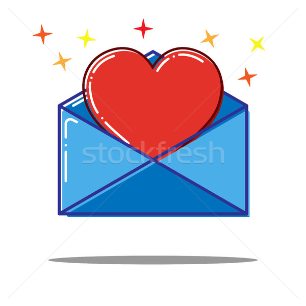 Stock photo: Flat love letter with heart icon
