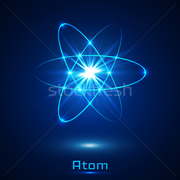Vector shining neon lights atom model Stock photo © olehsvetiukha