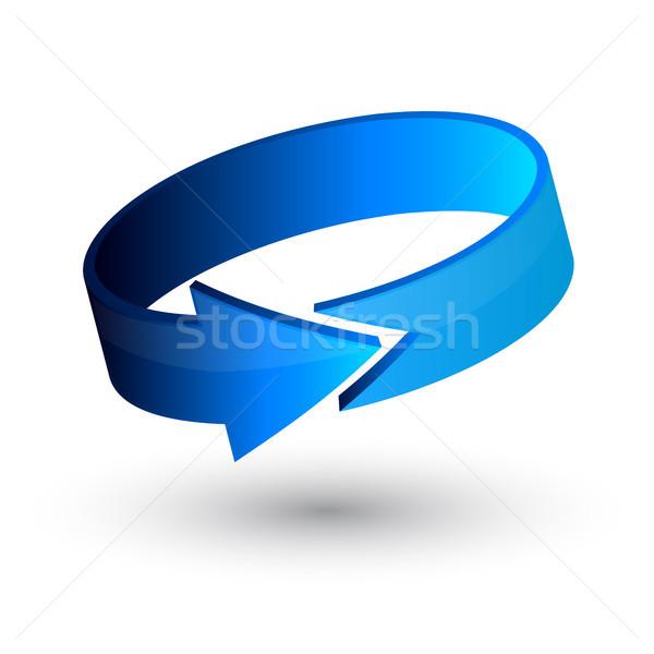 Kółko niebieski 3D arrow wektora działalności Zdjęcia stock © olehsvetiukha
