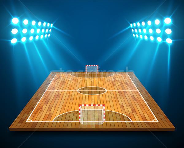 Ilustração · madeira · de · lei · perspectiva · tribunal · campo ... ec31339165bf3