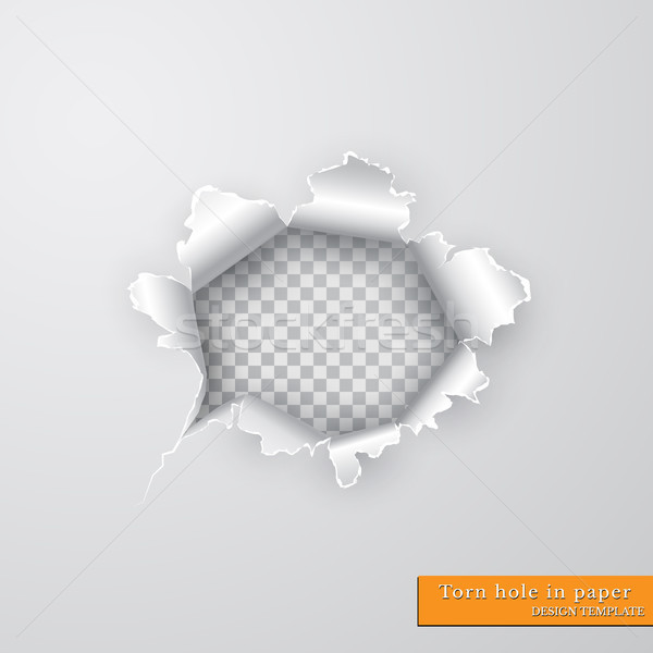 Torn hole in paper with ripped edges with shadow on transparent background. Graphic concept for your Stock photo © olehsvetiukha