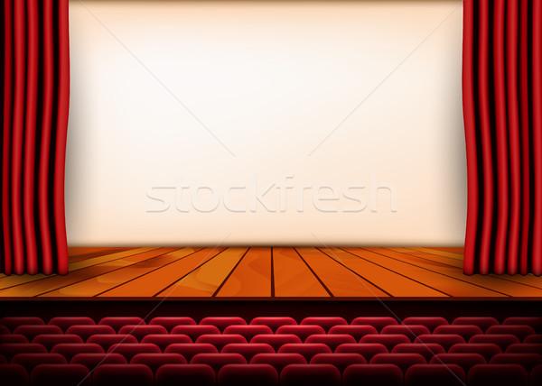 Színpadi jelenet piros függönyök fapadló stock Stock fotó © olehsvetiukha