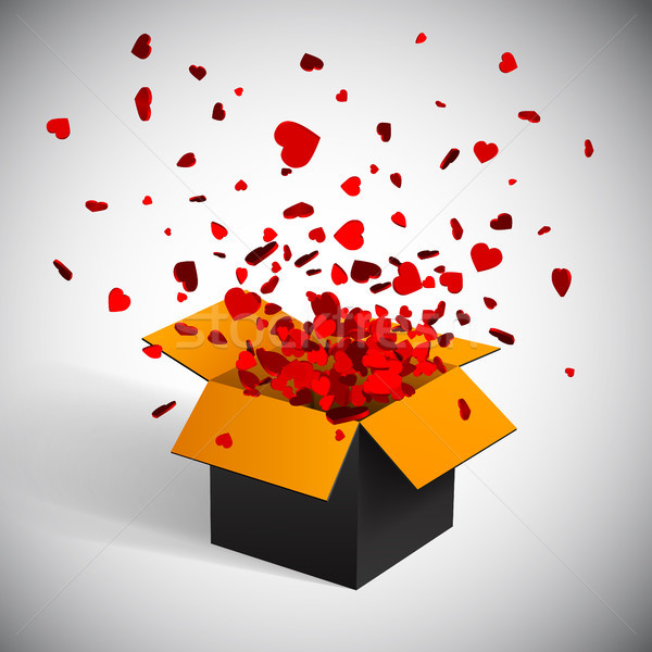 Stock photo: Gift box present with fly hearts Valentine's day vector illustration