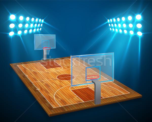 An illustration of hardwood perspective Basketball arena field with bright stadium lights design. Ve Stock photo © olehsvetiukha