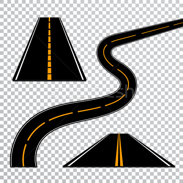 Winding curved road or highway with markings. Direction, transportation set. Vector illustration Stock photo © olehsvetiukha