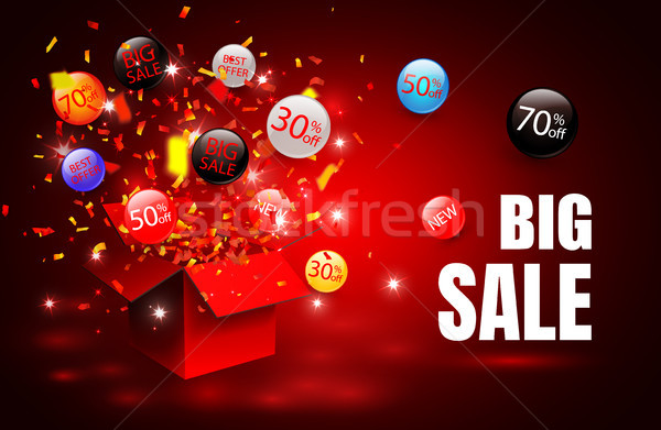 Big sale. Special offer sale discount symbol with open gift and flow labels. Easy to use for your de Stock photo © olehsvetiukha