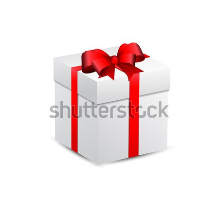 Blanco caja de regalo rojo arco vector papel Foto stock © olehsvetiukha