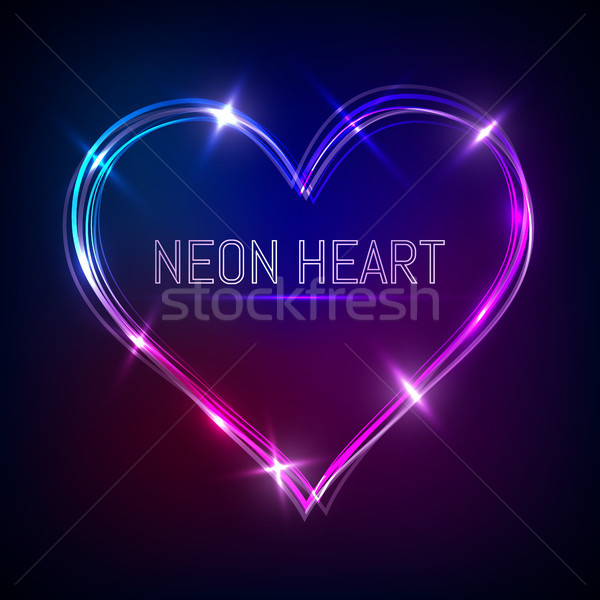 neon heart vector, Valentine`s heart Stock photo © olehsvetiukha