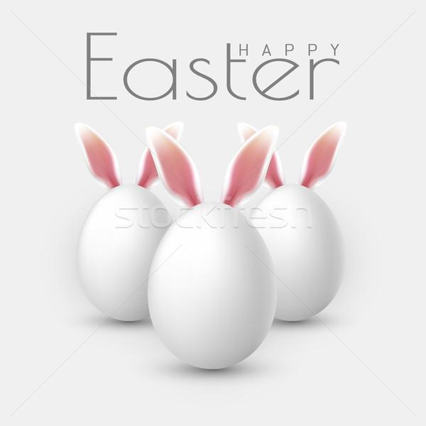 Kellemes húsvétot vektor valósághű húsvéti tojások izolált szürke Stock fotó © olehsvetiukha