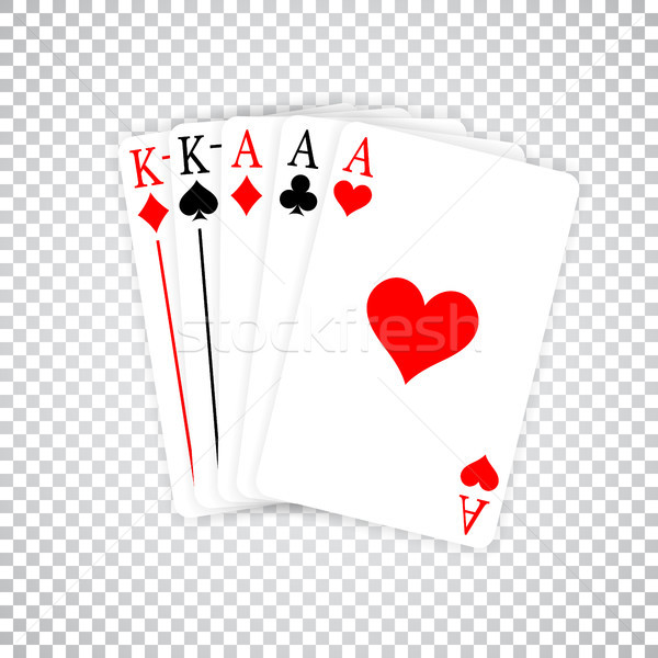 A Poker Hand Full House three Aces and pair of Kings playing cards Stock photo © olehsvetiukha