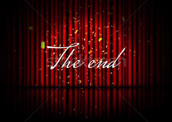 The end. Theatrical scene with red curtains, reflection and confetti. Stock vector illustration Stock photo © olehsvetiukha