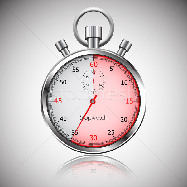 секунды серебро реалистичный секундомер отражение вектора Сток-фото © olehsvetiukha
